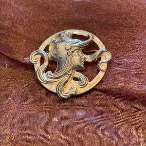 Antique sterling Joan of Arc pendant
